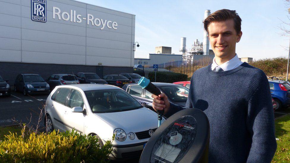 Matthew Thomason outside Rolls-Royce