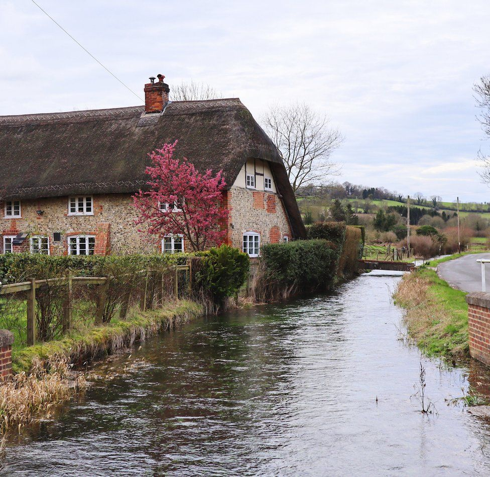 A river flowing by a house