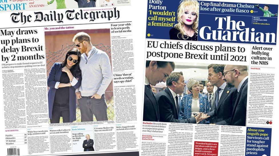 Daily Telegraph and Guardian front pages for 25/02/19