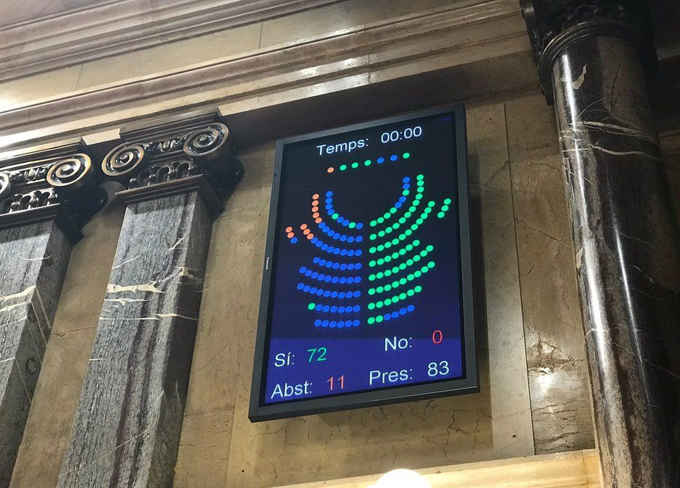 The vote display board in the Catalan parliament, Barcelona, 6 September