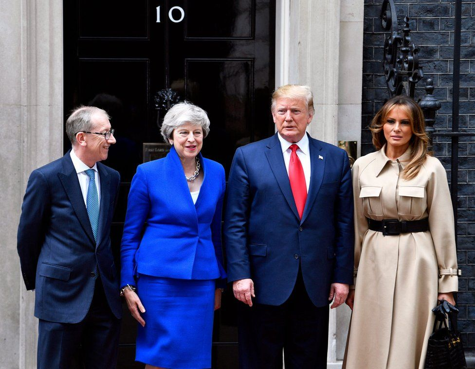 (Left to right) Philip May, Prime Minister Theresa May, President Trump and First Lady Melania Trump