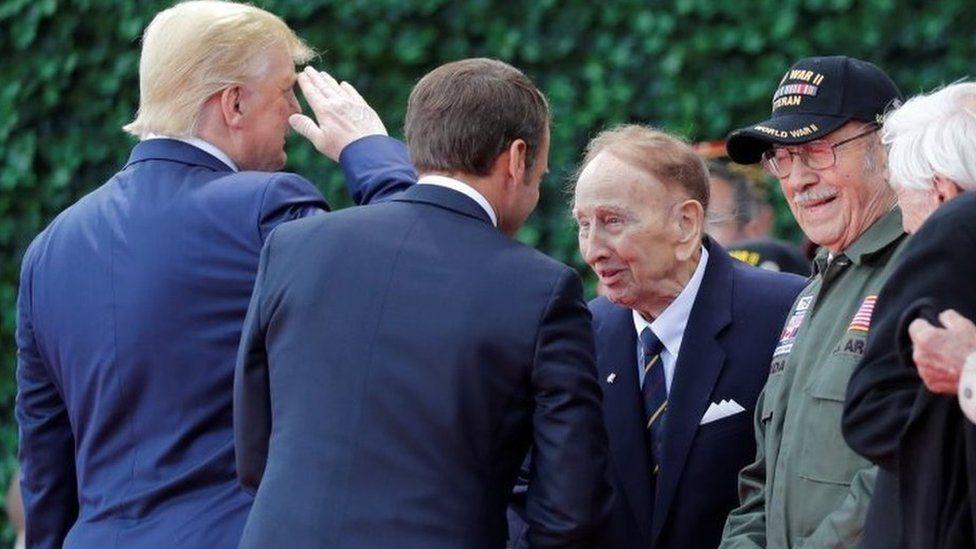 US President Donald Trump greeting World War Two veterans