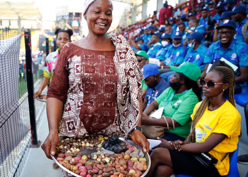 A kola nut seller in Lagos, Nigeria - Saturday 1 May 2021