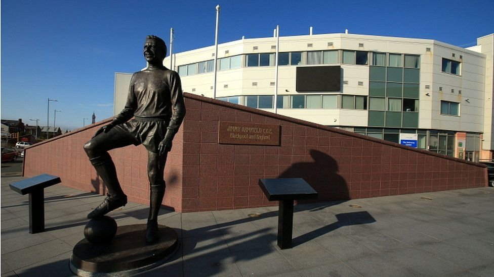 Jimmy Armfield statue outside Blackpool FC'S ground on Bloomfield Road