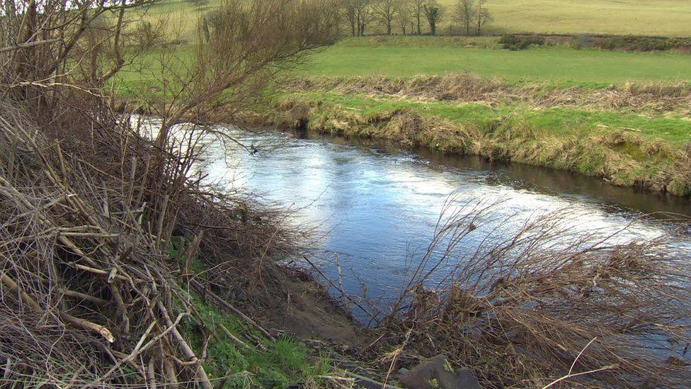 The River Faughan runs past the illegal dump
