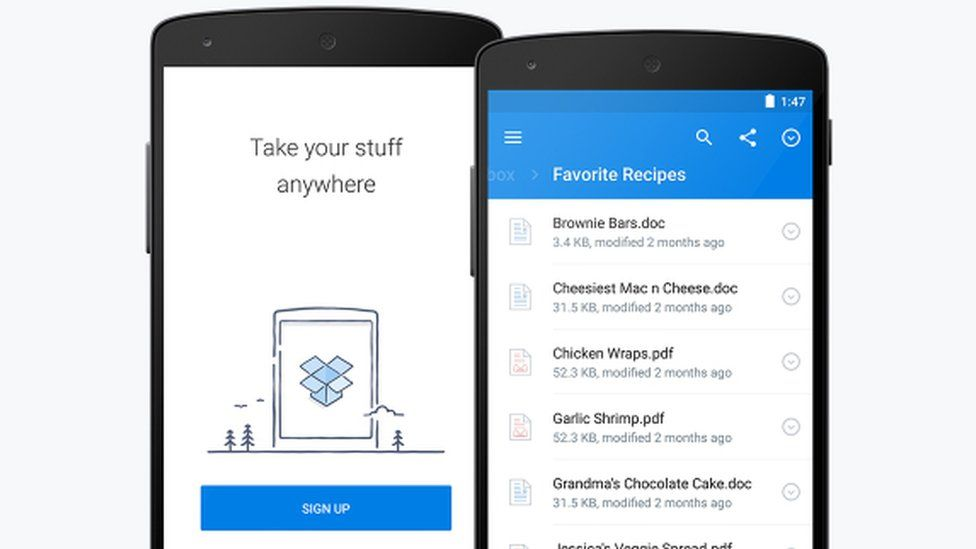 A picture of Dropbox on an Android phone