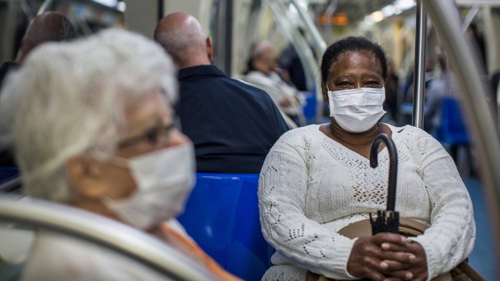 People wear protective mask on the subway on February 27, 2020 in São Paulo, Brazil.