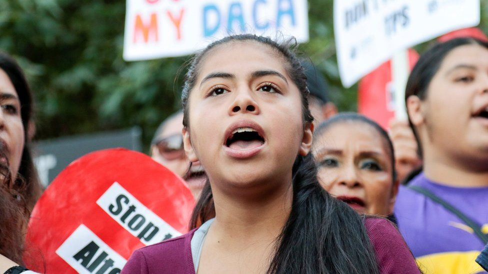 Rocio, a Daca programme recipient, at a rally outside the Federal Building in Los Angeles, California, September 1, 2017