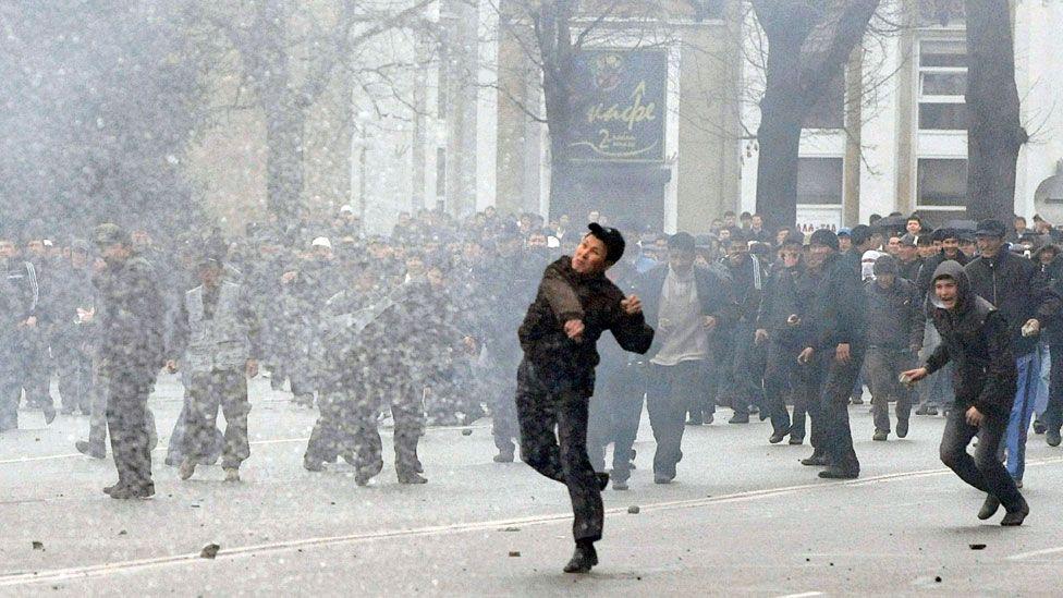 Rioters in the Kyrgyz capital, Bishkek, in April 2010 overthrew President Kurmanbek Bakiyev