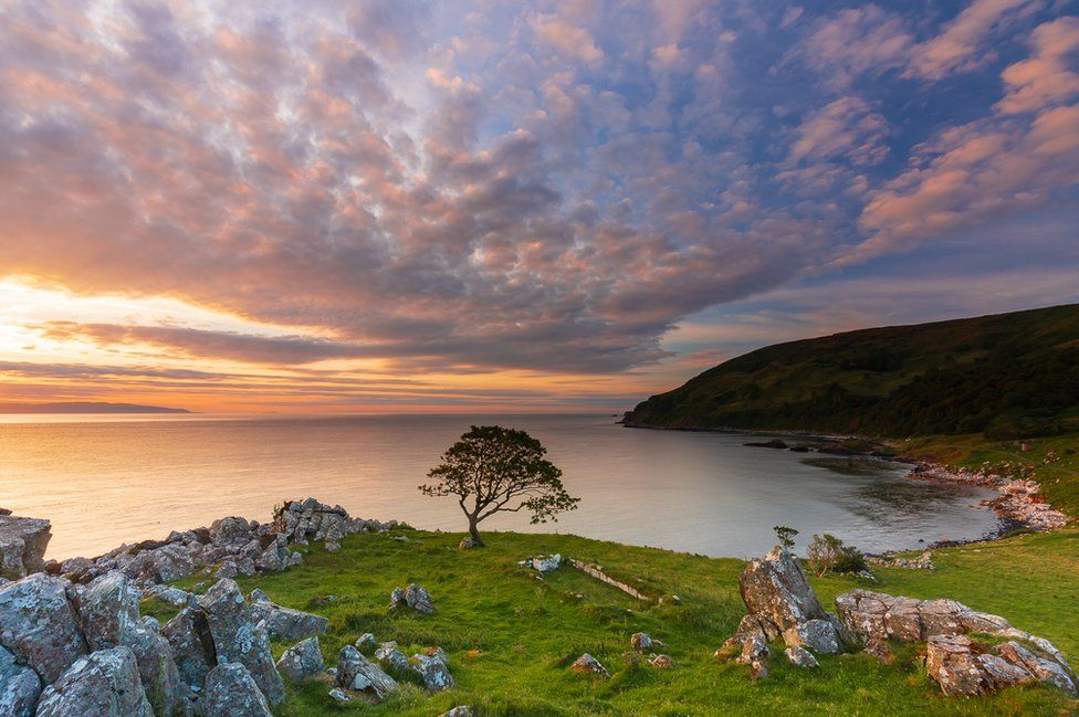 Sunset over Murlough Bay in County Antrim