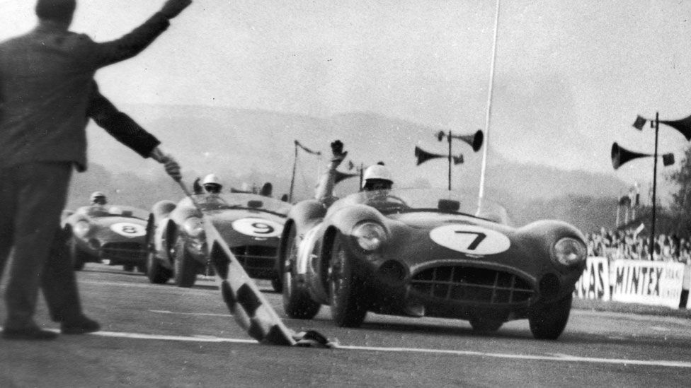 1958 - Stirling Moss wins at Goodwood in an Aston Martin with Tony Brooks