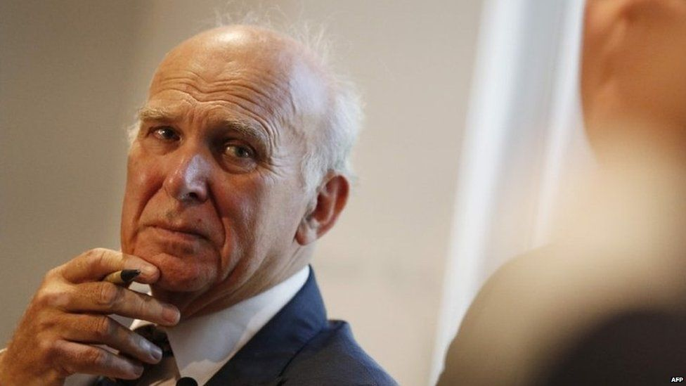 Sir Vince Cable speaking in London