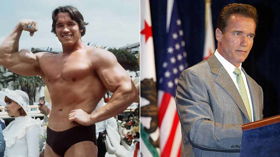 Arnold Schwarzenegger posing in 1977 and in 2003 as governor