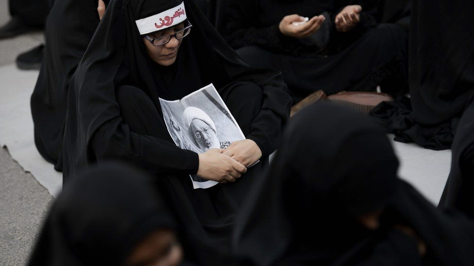 protest against the revocation of the citizenship of top Bahraini Shiite cleric
