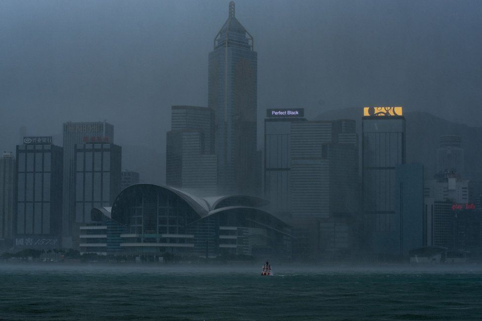 Victoria Harbour during the approach of super Typhoon Mangkhut to Hong Kong on September 16, 2018