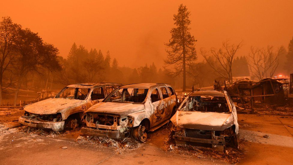 Burned out cars sit at a car lot in Paradise, north of Sacramento, California on November 09, 2018.