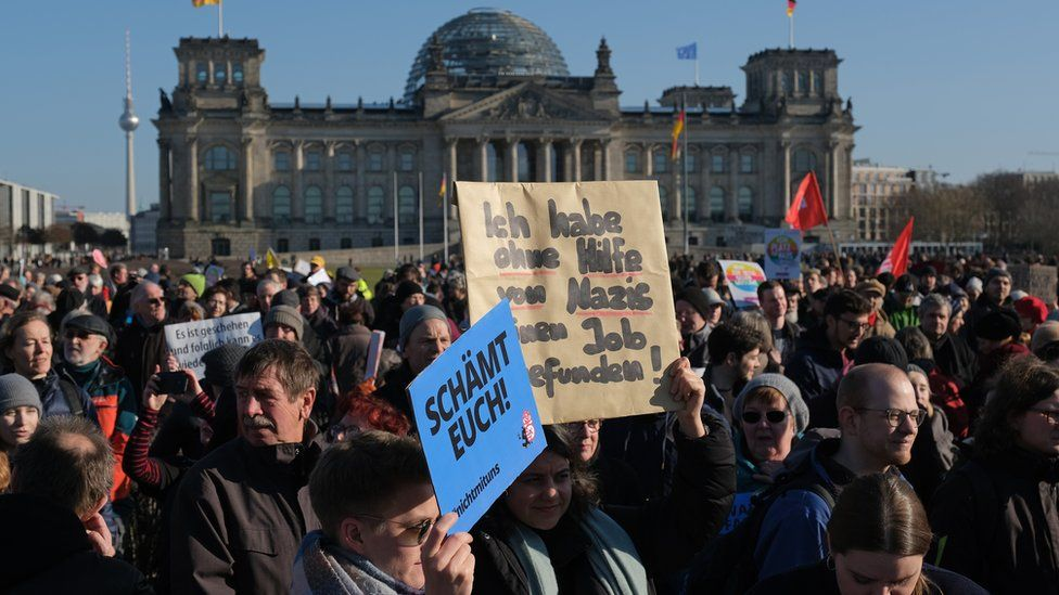 Protesters outside the Chancellery in Berlin
