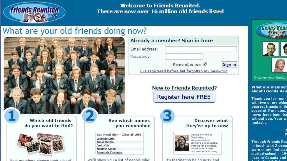 Friends Reunited website