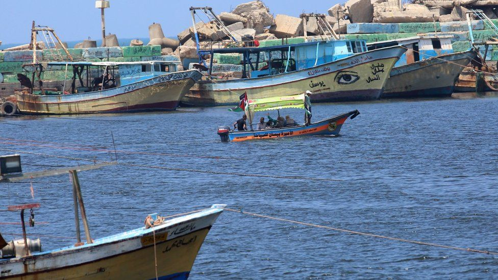 Fishing boats in Gaza's port (4 August 2018)