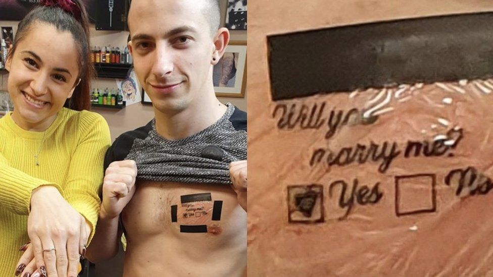 Picture of a tattoo saying 'will you marry me' with a 'yes or no' tick box