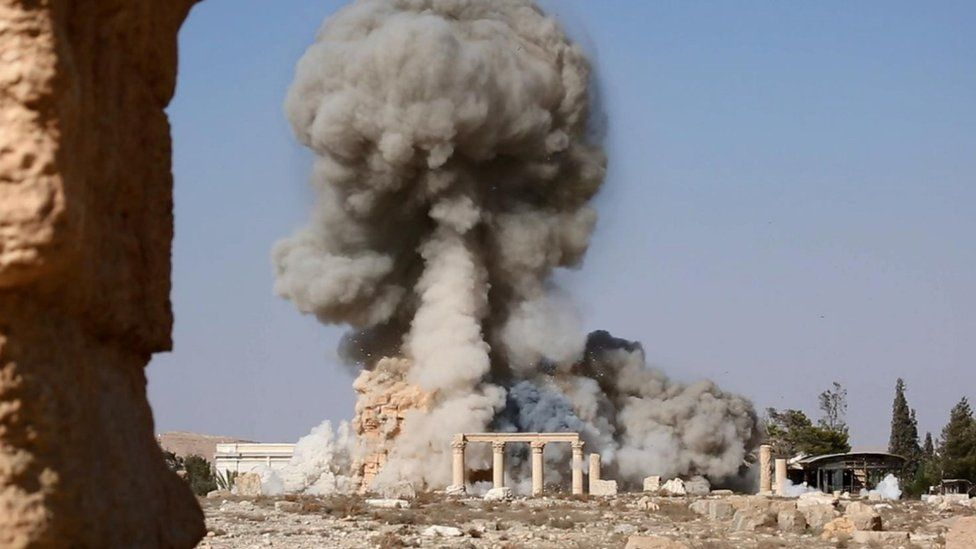 Screengrab of Islamic State (IS) video purportedly showing the destruction of the Temple of Baalshamin at Palmyra (25 August 2015)