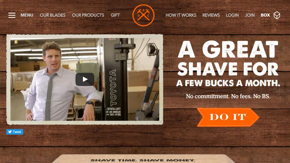 Screen grab of Dollar Shave Club