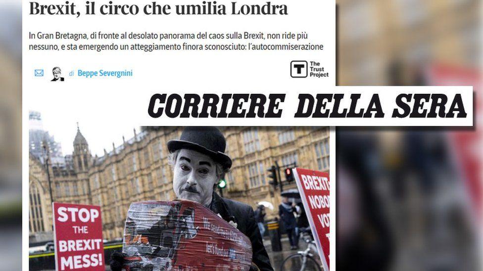 Headline from the Corriere della Sera