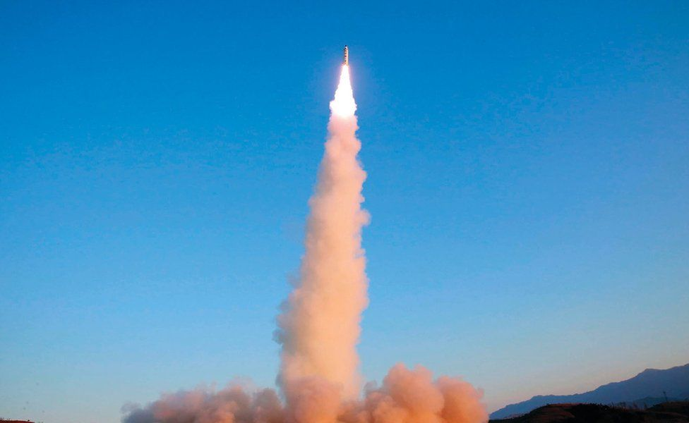 In this 12 February 2017 photo distributed on 13 February 2017 by the North Korean government, the Pukguksong-2 is launched at an undisclosed location in North Korea.