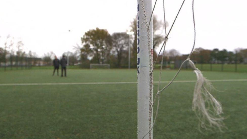 The Astroturf pitch is close to the leisure centre