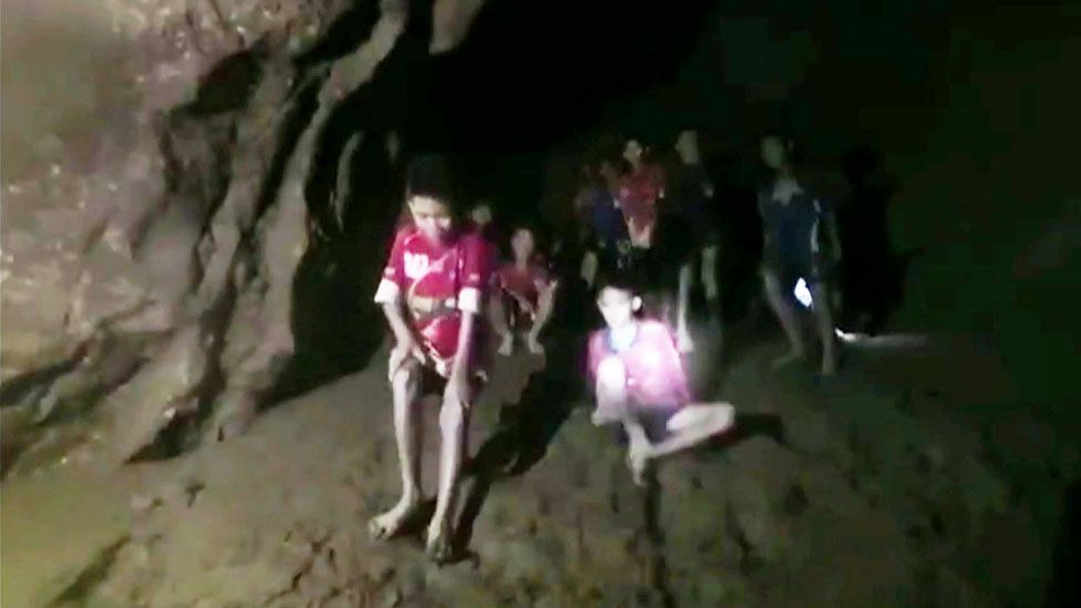 Photo of the Thai boys when divers first found them