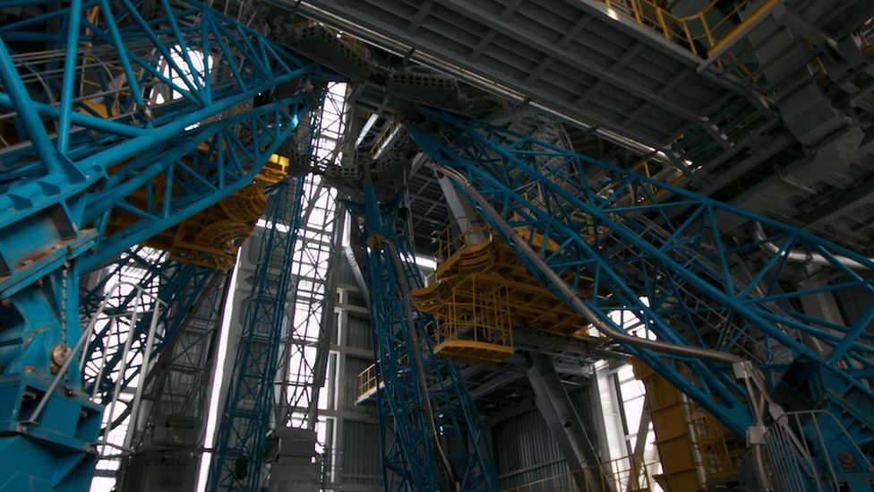 Inside the tower on the launch pad at Vostochny
