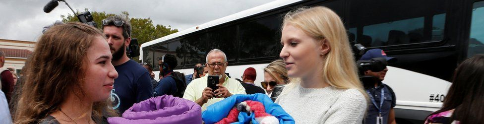 Marjory Stoneman Douglas High School students prepare to board busses with other students to travel to Tallahassee, Florida, to meet legislators, in Coral Springs, Florida, 20 February 2018