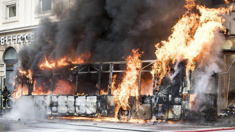 Rome bus fire