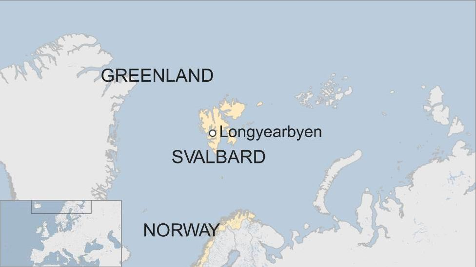 A map showing the position of Svalbard