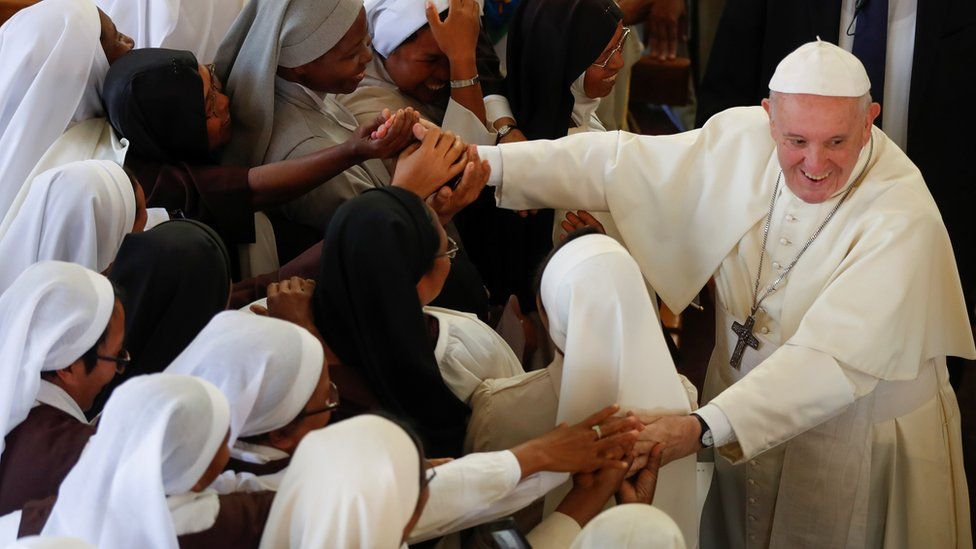 Pope Francis greets faithful after leading the mid-morning prayer at the Monastery of the Discalced Carmelites in Antananarivo, Madagascar, September 7, 2019