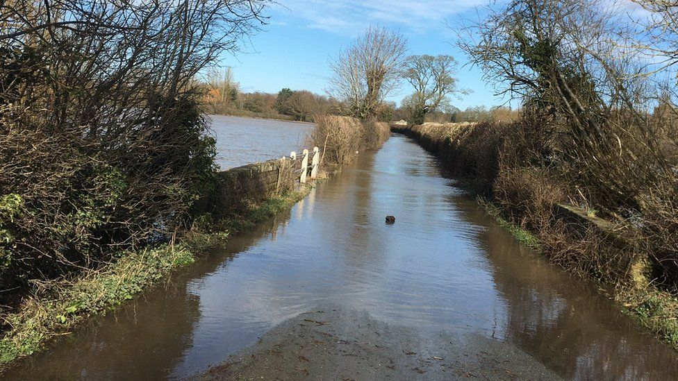 The road between Atcham and Cross Houses