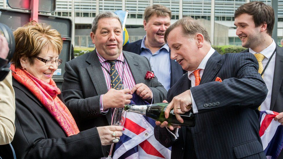 UKIP MEPs celebrate with champagne in Brussels
