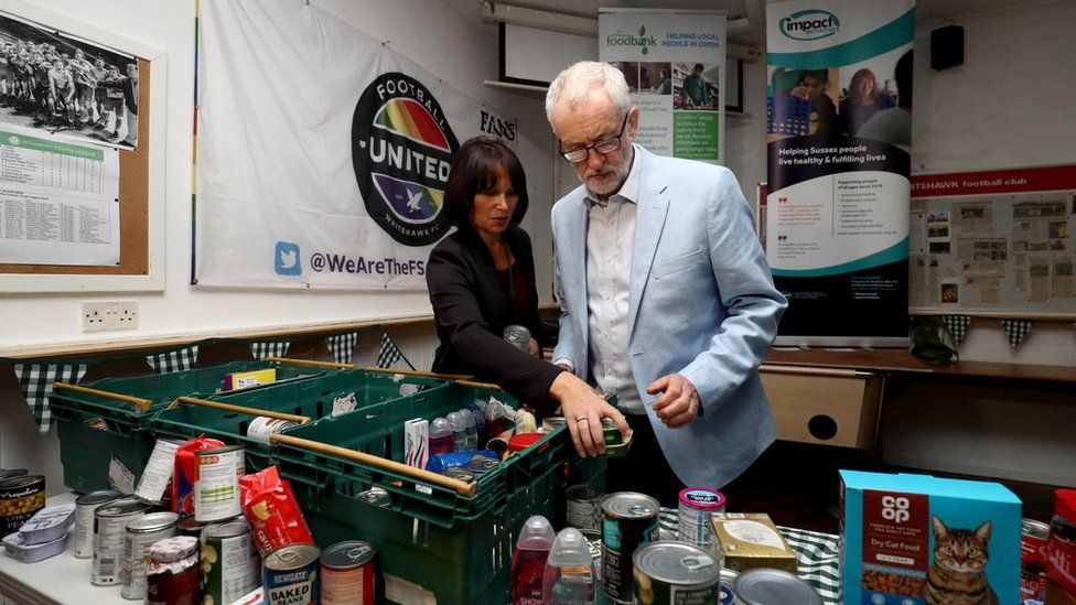 Jeremy Corbyn helps to sort out food donated to the food bank