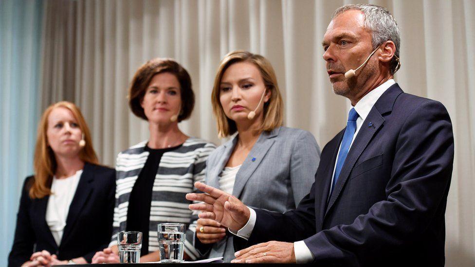 Sweden's Alliance party leaders (L-R) Annie Loof, Anna Kinberg Batra, Ebba Busch Thor, and Jan Bjorklund