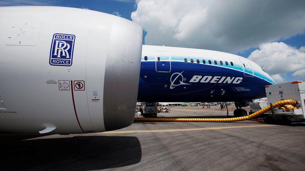 Boeing plane with Rolls-Royce engine