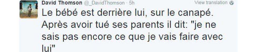 Tweet by David Thomson