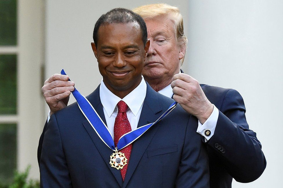 Golfer Tiger Woods is awarded the Presidential Medal of Freedom