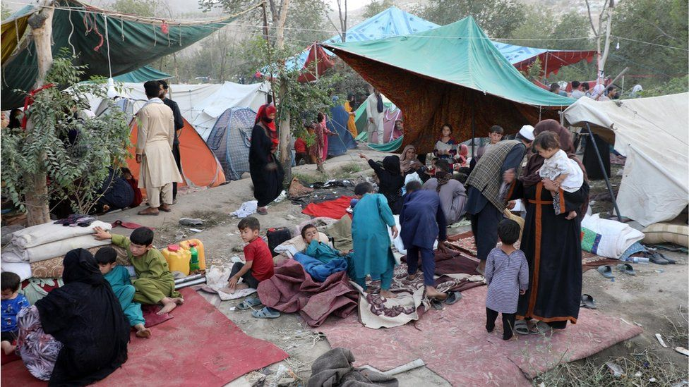 Thousands of families flee from the Taliban offensive and come to Kabul, Afghanistan on August 10, 2021.