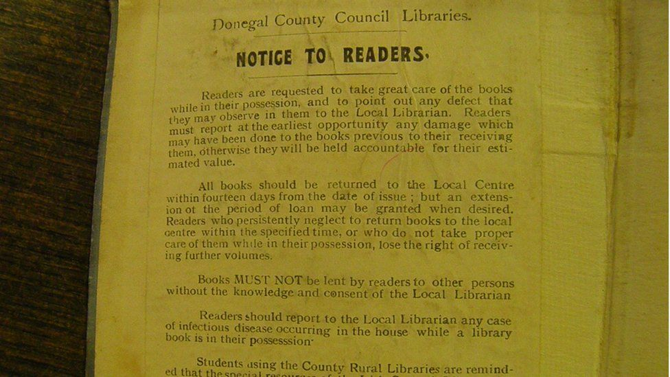 A page from the 1930s showing the library's rules on book borrowing