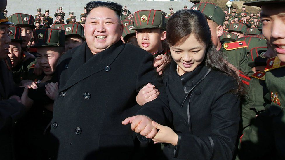 Supreme Leader Kim Jong-un and his wife are surrounded by young people in service wear