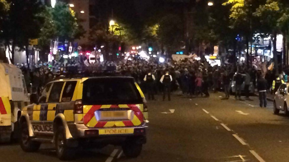 Hundreds of fans gathered outside pubs near Belfast's Shaftsbury Square to celebrate Northern Ireland's victory