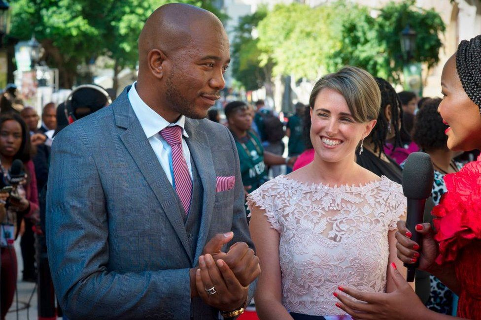 Mmusi Maimane pictured with his wife, Natalie, in Cape Town ahead of the State of the Nation address on 16 February 2018.