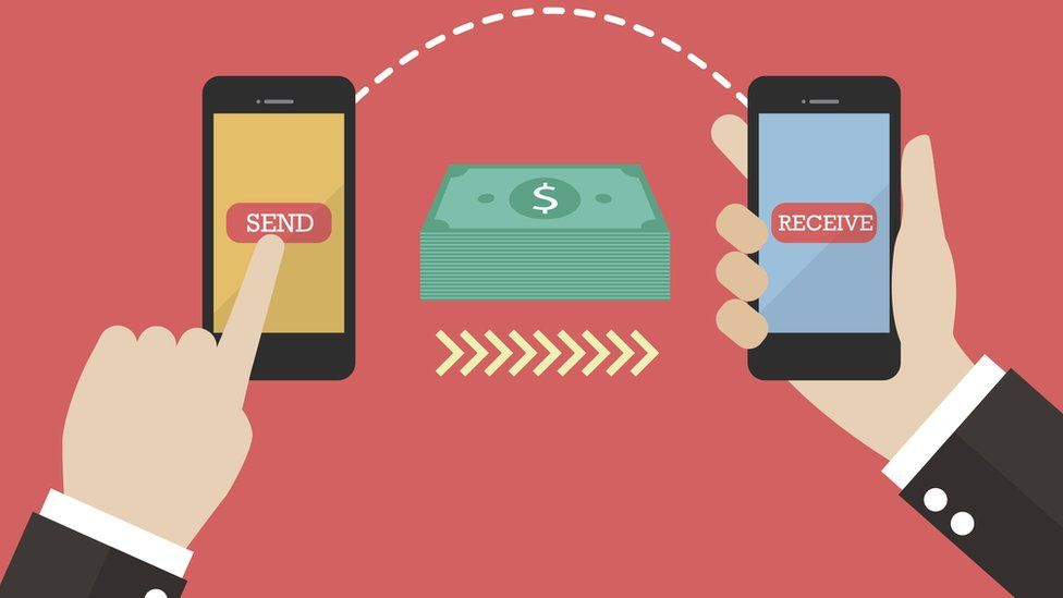 Graphic of phone to phone money transfer