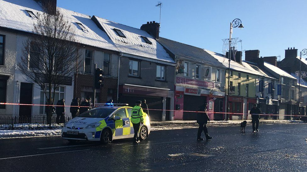 Lower Main Street was closed off by police as searches were carried out