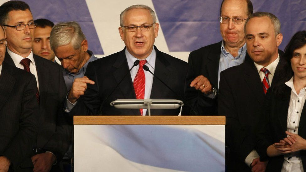 Benjamin Netanyahu addresses Likud party supporters in Tel Aviv on election night on 11 February 2009